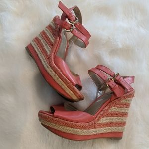 G By Guess Lolaa Wedge Espadrilles coral size 7